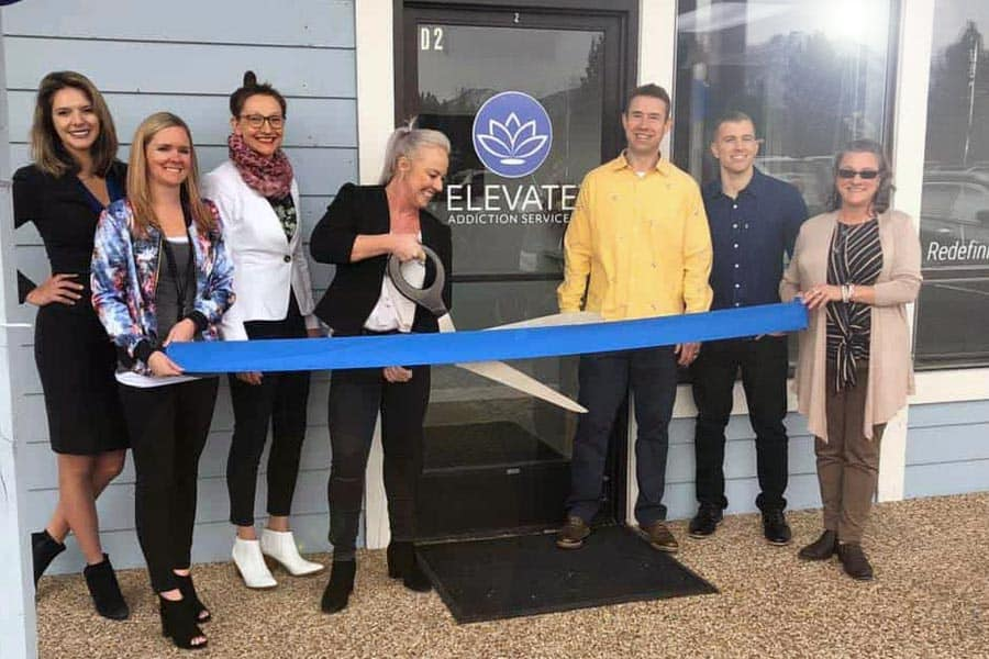 Elevate Addiction Services Lake Tahoe Grand Opening Angie Cutting Ribbon