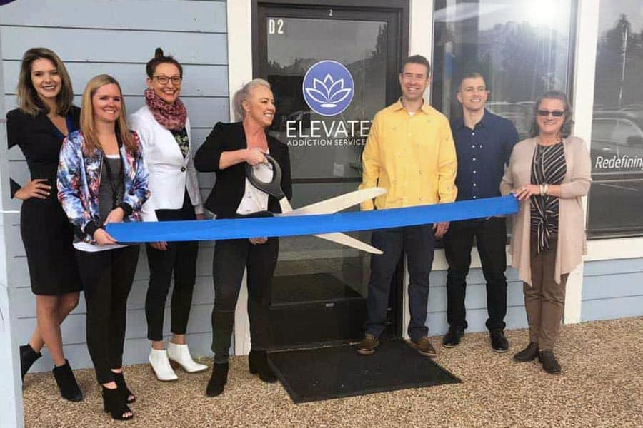 Elevate Addiction Services Lake Tahoe Grand Opening Cutting Ribbon